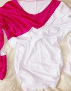 Bluzka tunika DUO różowo biała ściągacze