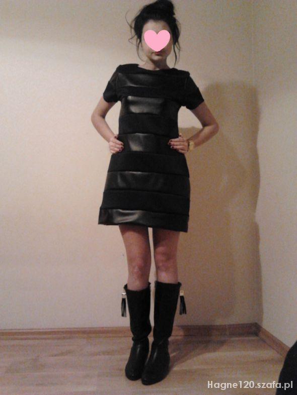 Eleganckie Sukienka ze wstawkami skórki