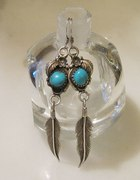 Kolczyki Srebrne z Turkusami Navaho Navajo