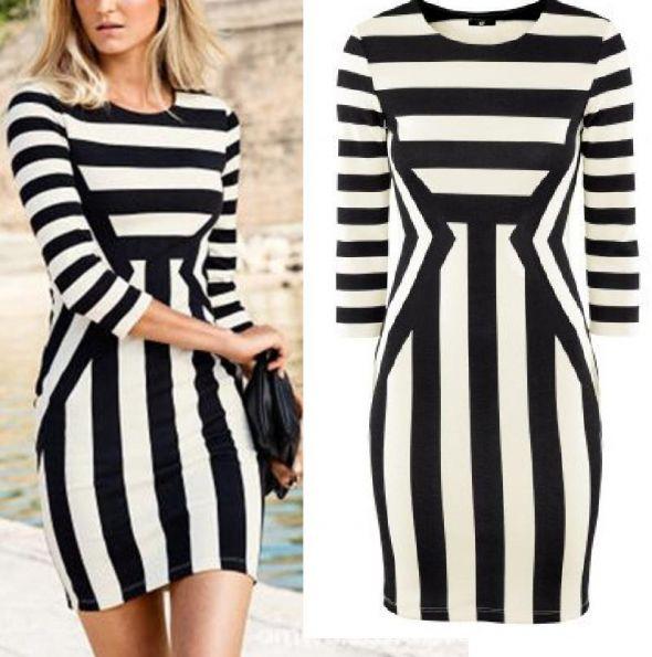 hm sukienka paski hm czarno biała frackowiak hm xs w Suknie