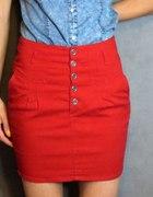 czerwona spódnica z wysokim stanem HOUSE