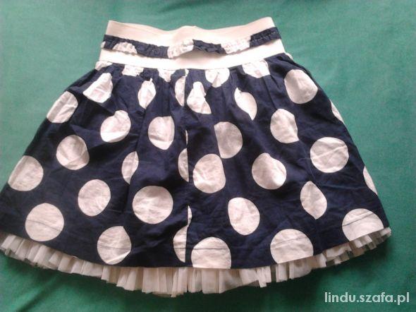 Spódnice spódniczka biało granatowa w grochy mini bombka