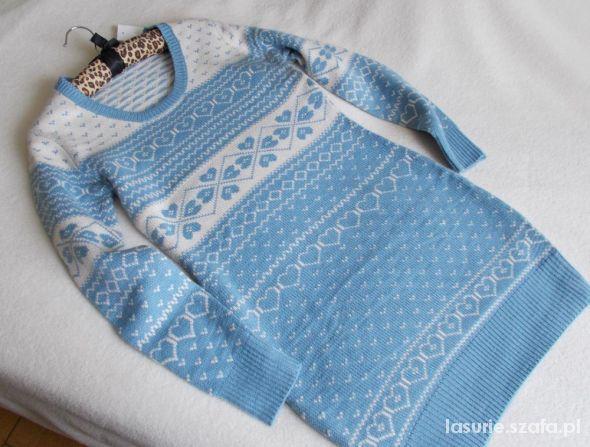 New Look sweter tunika norweski wzór...