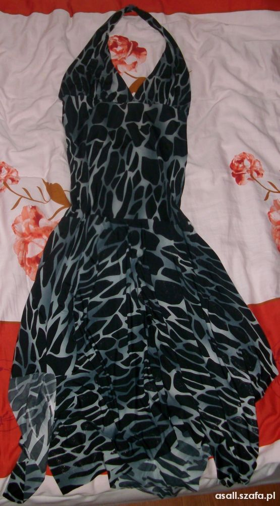 sukienka srebrna czarne łatki