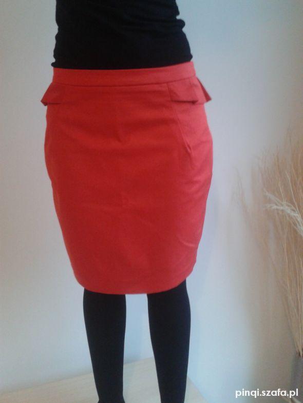 Spódnice Czerwona ołówkowa spódniczka z baskinką H&M