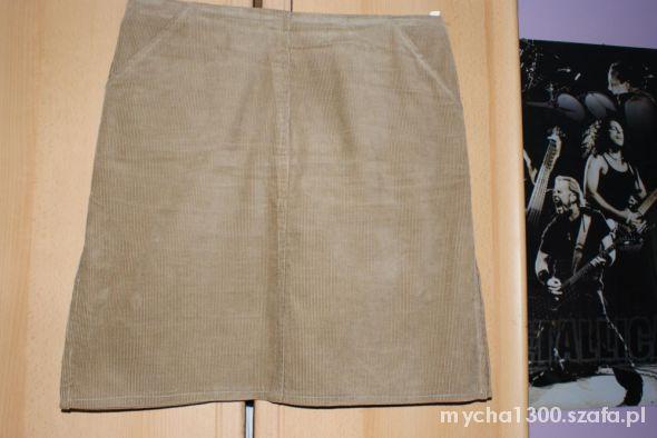 Spódnice beżowa spódnica sztruksowa