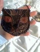 Naszyjnik torebka głowa kota vintage boho hippie...