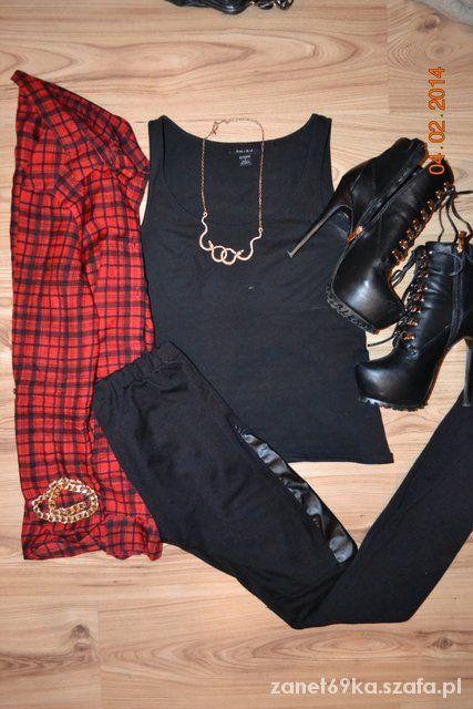 Czarne legginsy ze skórzanymi wstawkami M