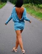 Sukienka bawełniana ręcznie barwiona GOŁE PLECY