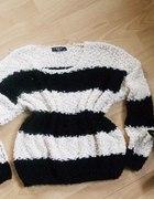 sweter włochaty puchaty miekki oversize pasiaczek