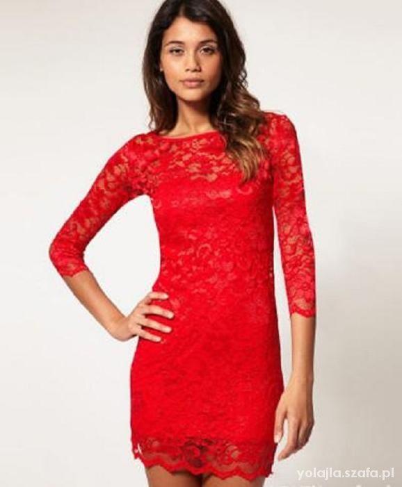 Suknie i sukienki czerwona z koronki