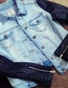 kurteczka jeansowa skorzane rekawy...