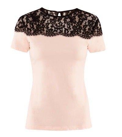 Ubrania H&M bluzka z koronką