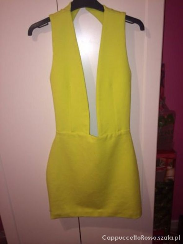 Aqua Couture Lime Green Plunge Dress