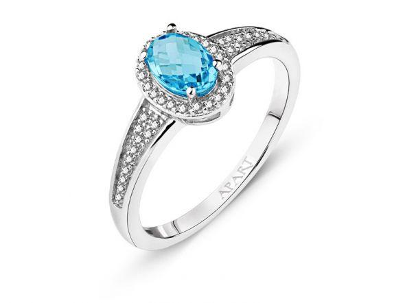 pierścionek z topazem i brylantami
