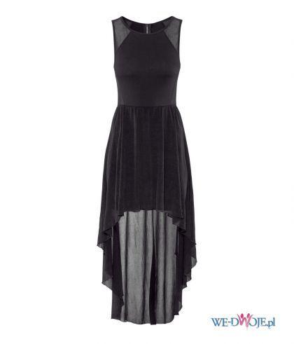 Suknie i sukienki H&M CZARNA SUKIENKA MAXI DLUGA SUKNIA WYCIECIA