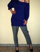 sweterek oversize chabrowy M L XL XXL gołe ramię
