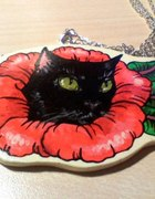 Wisior czarny kot róża Wild Orchid...
