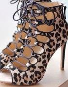 Zara leopard wiązane szpilki blog...