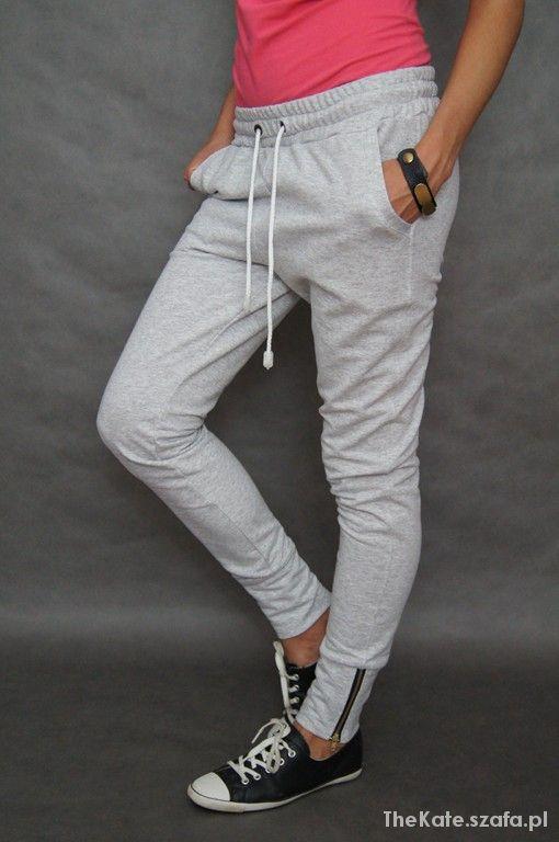Spodnie dresowe zwężane jasny melanż