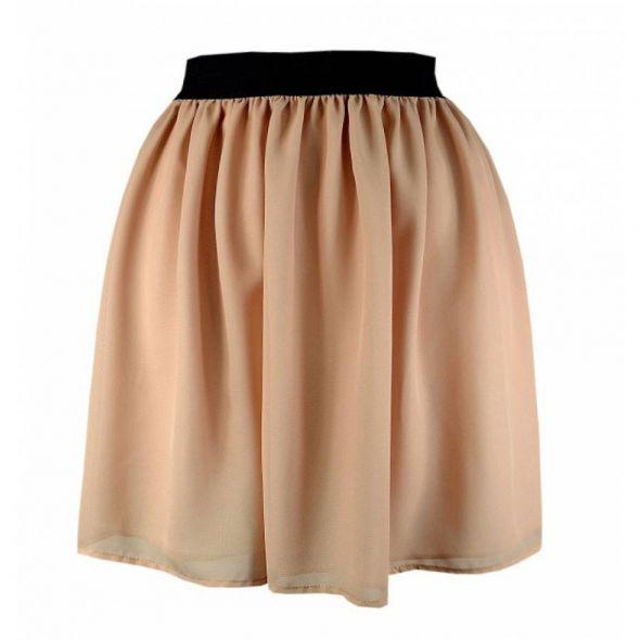 Spódnice Beżowa spódniczka na gumce