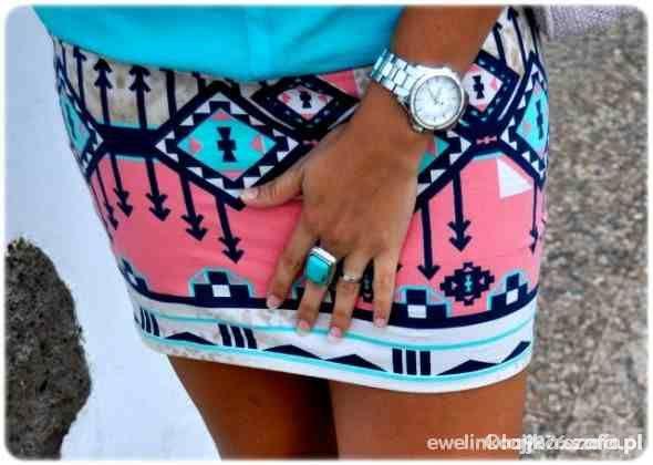 Ubrania Bershka spódnica azteckie wzory