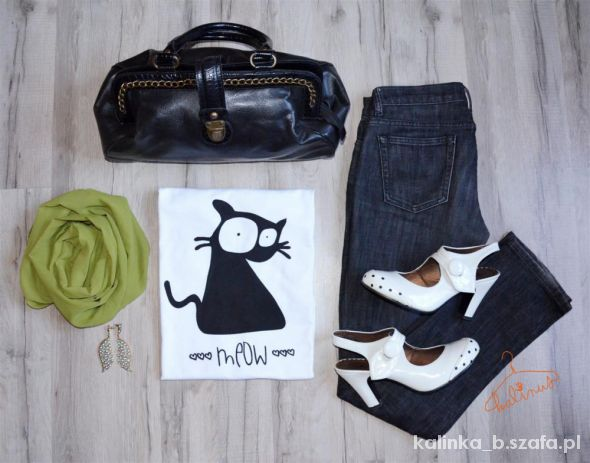 Blogerek codzienna stylizacja w roli głównej bluzka z kotem