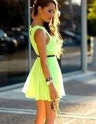 Neonowa sukienka mini cytrynowa