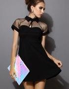 Sheinside czarna sukienka S z kołnierzykiem...