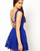 kobaltowa sukienka koronkowa...