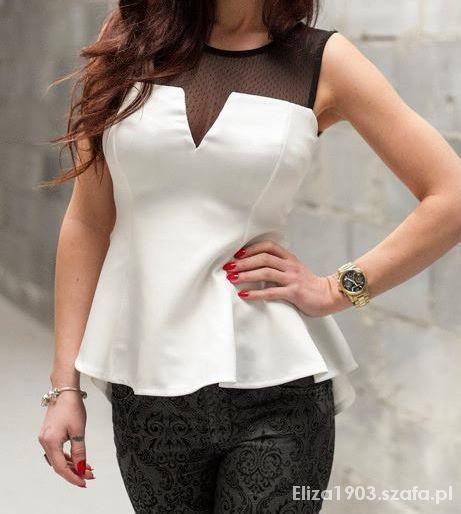 Ubrania Biała bluzeczka z baskinką rozmiar S