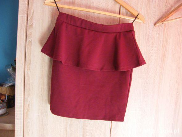 Spódnice Bordowa spódniczka z baskinką