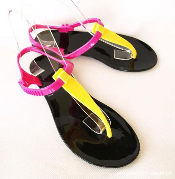 Meliski Płaskie sandały Japonki BLACK NEON fluo 39