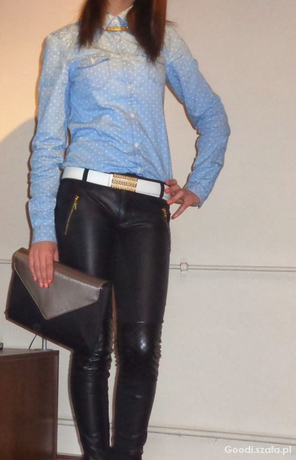Mój styl Jeans & leather trousers