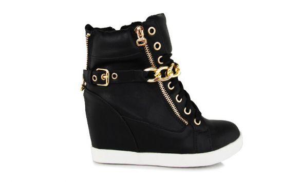 Sneakers czarne tenisówki na koturnie...