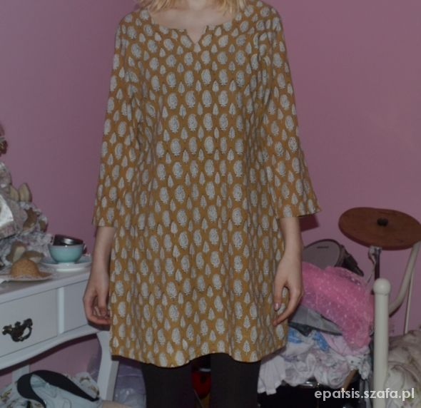 sukienka tunika boho etno hippie wzorzysta...