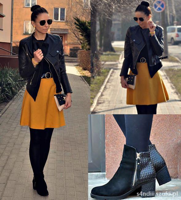 Blogerek Musztardowa spódnica kloszowa