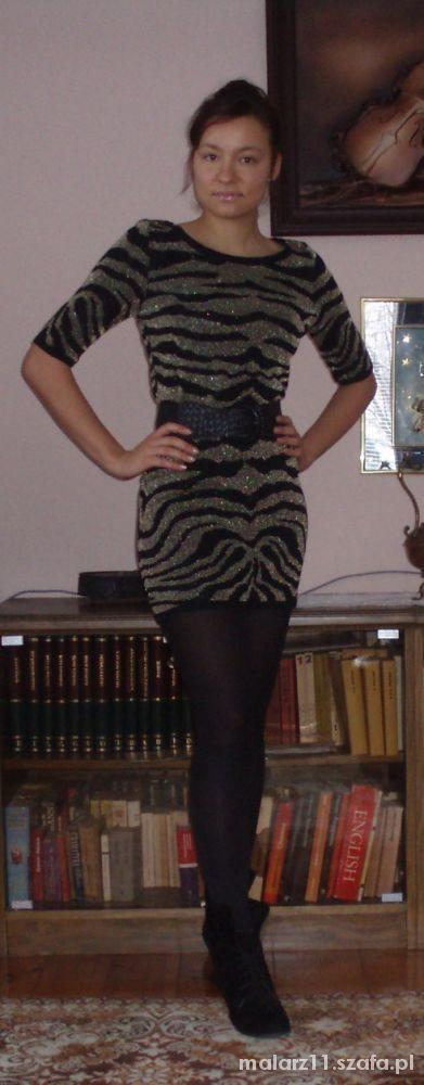 Imprezowe sukienka zebra złota nitka