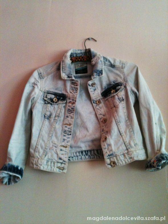 Odzież wierzchnia Zara marmurkowa krótka jeansowa kurtka