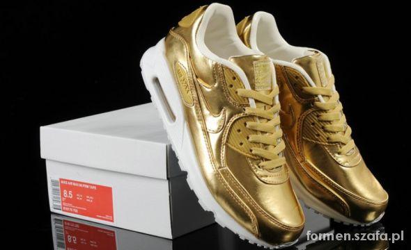 PROMOCJA Nike Air Max 90 złote srebrne męskie dams w Sandały