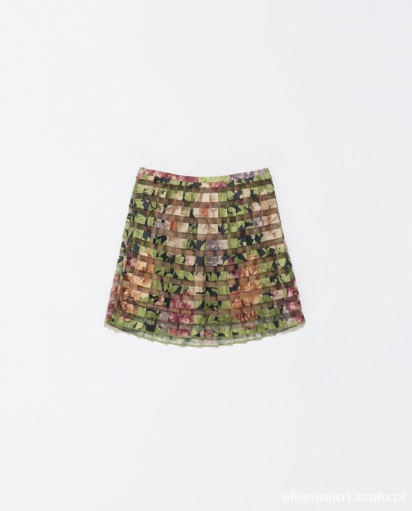 Spódnica plisowana kwiaty ZARA XS S
