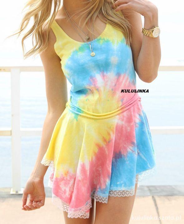 Sukienka Rainbow Pastelowo Neonowa tęcza