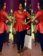 Skórzana czerwona bluzka z baskinką