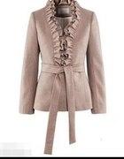 H&M elegancki płaszczyk z żabotem