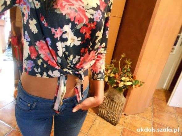 Romantyczne Bluzka wiazana floral kwiaty i rurki