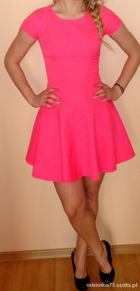 Eleganckie Neonowa sukienka