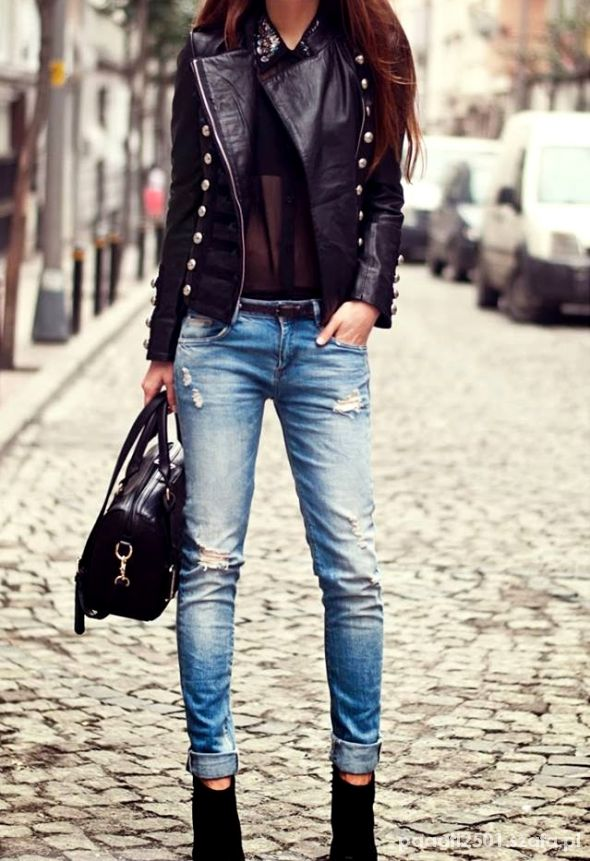 jeans&skóra