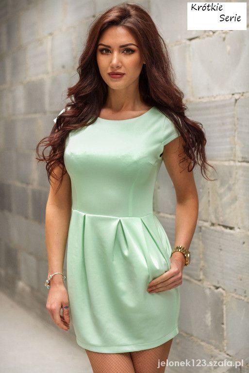 a818817bef Seledynowa sukienka mini bombka na wiosnę S XL w Suknie i sukienki ...