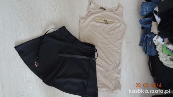 Spódnice Nowa rozkolowana mini spódniczka i tunika z zipem
