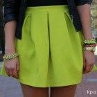 Kontrafałda limonka neon spódnica rozkloszowana